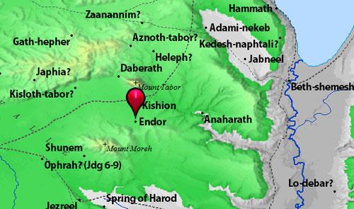 Map showing location of En-Dor. Courtesy of BibleAtlas.org.