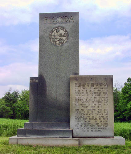 Gettysburg monument to Floridians who fought in the Civil War. Photo by Ferrell Jenkins.
