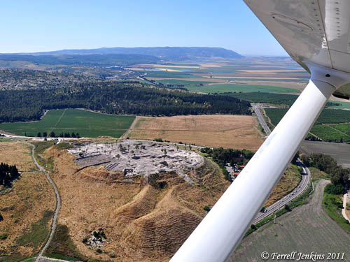 Aerial view of Megiddo and Mount Carmel. Photo by Ferrell Jenkins.