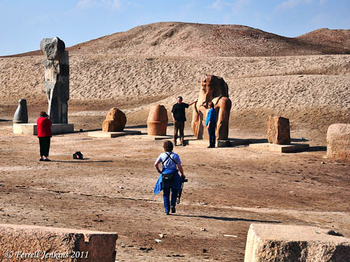 Tourists pose beside ancient monuments at Tanis. Photo by Ferrell Jenkins.