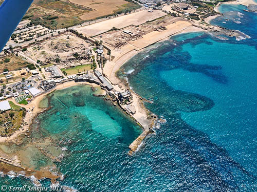 Aerial view of Caesarea Maritima. Photo by Ferrell Jenkins.