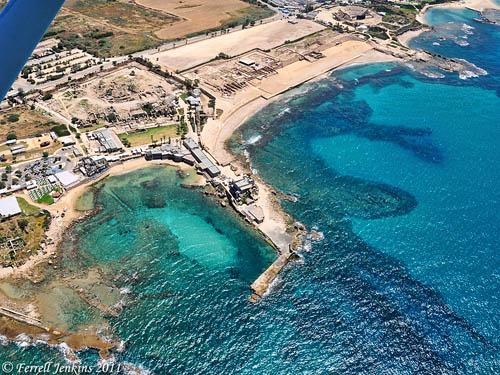 Aerial view of Caesarea Maritima. Photo by Ferrell Jenkins.