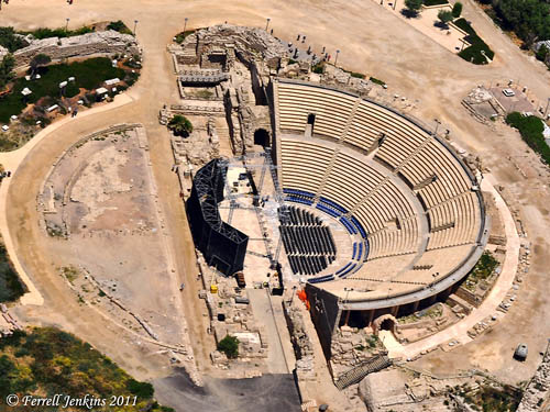 The theater at Caesarea Maritima. View is South (bottom) to North (top). Photo by Ferrell Jenkins.