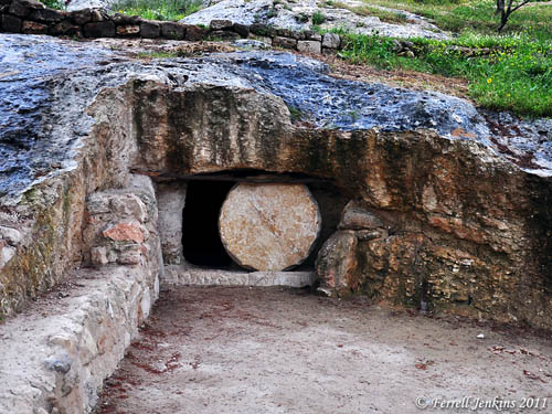 New tomb with rolling stone at Nazareth Village. Photo by Ferrell Jenkins.