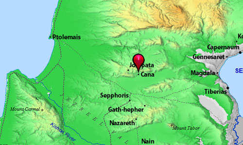 Note location of Jotapata and (Khirbet) Cana. Map by BibleAtlas.org.