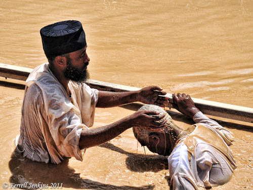 Ethiopians in the Jordan River at Qasr el-Jahud. Photo by Ferrell Jenkins.