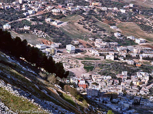 A view of Shechem from Mount Gerizim in 1982. Photo by Ferrell Jenkins.