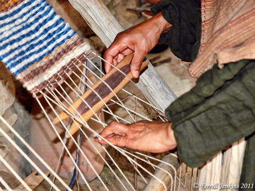 Demonstration of weaving at Nazareth Village. Photo by Ferrell Jenkins.
