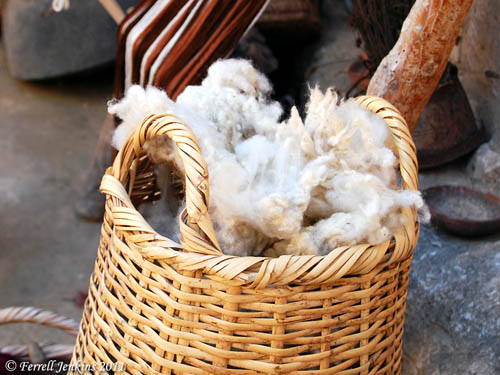 Basket of wool ready to be spun. Nazareth Village. Photo by Ferrell Jenkins.