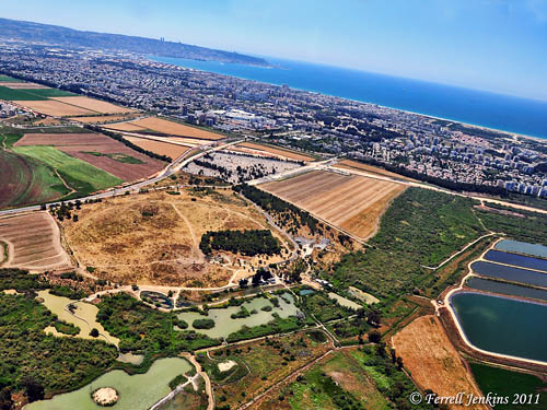 Afek of Galilee with southwest view of Plain of Acco toward Haifa. Photo: F. Jenkins.