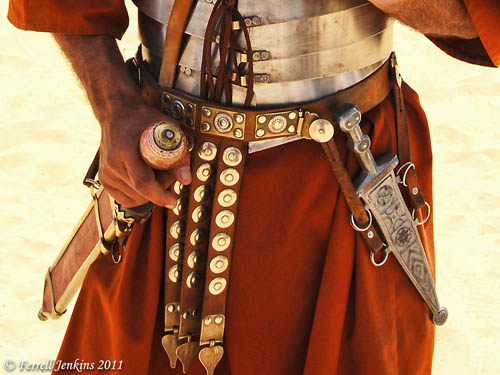 Roman Centurion at Jerash with two swords. Photo by Ferrell Jenkins.