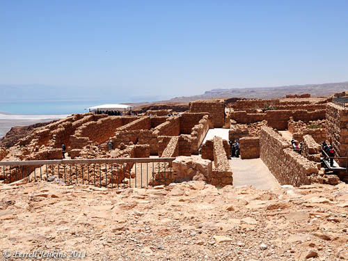 Warehouses at Masada with the Dead Dea visible in the distance. Photo by Ferrell Jenkins.