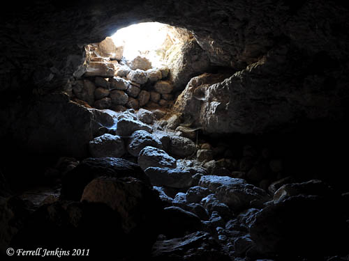 View north from interior of the Cave of Adullam. Photo by Ferrell Jenkins.