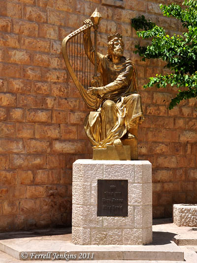 Statue of King David playing the harp (Mount Zion, Jerusalem). Photo by Ferrell Jenkins.