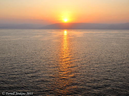 Sunrise on the Sea of Galilee. Photo by Ferrell Jenkins - 09-04-11