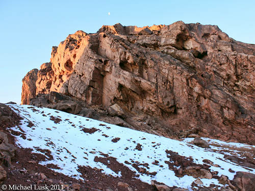 Snow near summit of Jebel Musa, Jan. 26, 2011. Photo by Michael Lusk.