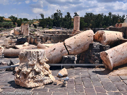 Columns broken by earthquake at Bethshan. Photo by Ferrell Jenkins.