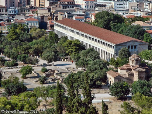 View from Mars Hill (Areopagus) of the agora and the Stoa of Attalus in Athens. Photo by Ferrell Jenkins.