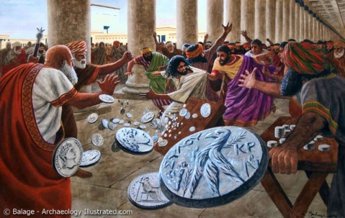 Jesus and the Money Changers. Balage Balogh, Archaeology Illustrated.