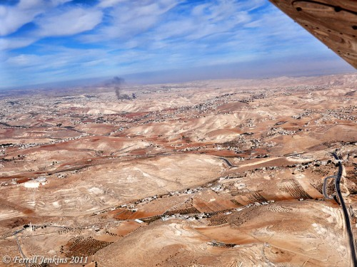 View east toward the Dead Sea and the the land of Moab in Jordan from over the Herodium. Photo by Ferrell Jenkins.