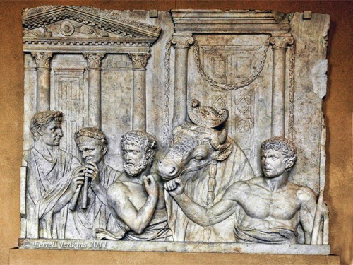 Roman architectural relief shows preparation for sacrifice. Louvre. Photo by Ferrell Jenkins.