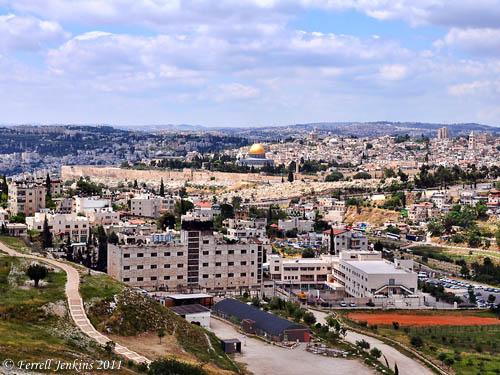 Jerusalem from Mount Scopus. The Temple Mount Sifting Project building is in the foreground. Photo by Ferrell Jenkins.