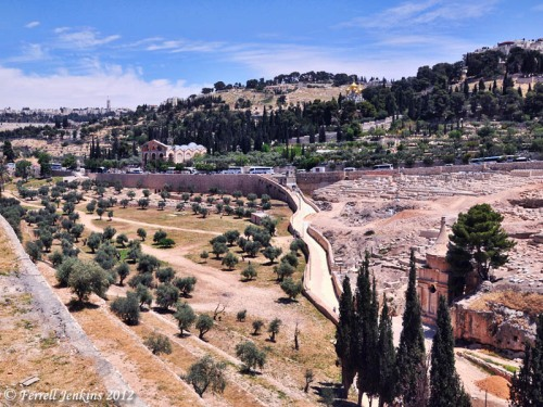 View of Kidron Valley from SE corner of Temple Mount. Photo by Ferrell Jenkins.