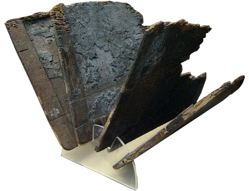 Four leaves of a wooden writing tablet. Roman period from Hawara, Egypt. British Museum.