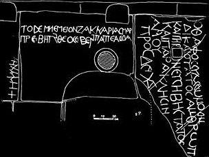 Zacharias and Simeon inscriptions on the Absalom Pillar.