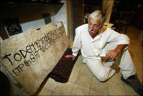 Joe Zias with cast of Zacharias inscription from Absalom Monument.