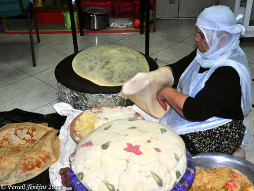 Druze woman preparing bread for baking at Birket Ram. Photo by Ferrell Jenkins.