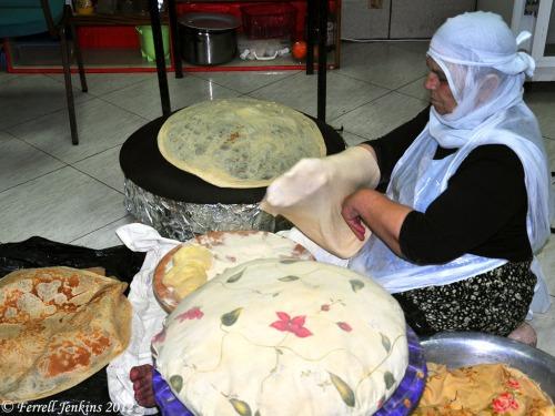 Druze woman preparing bread for baking at Birket Ram. Photo by Ferrell Jenkins.