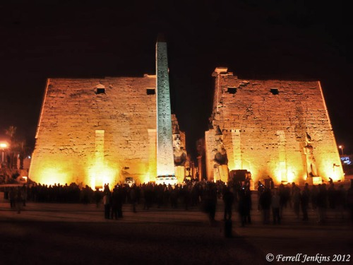 Luxor Temple facade at night. Photo by Ferrell Jenkins.