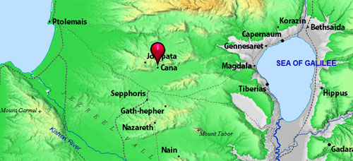 Map showing Nazareth, Sepphoris, Cana, and Jotapata. BibleAtlas.org.
