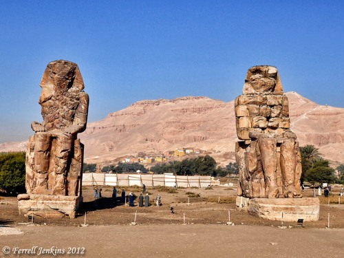 The Colossi of Memnon in the West Bank of the Nile. Photo by Ferrell Jenkins.