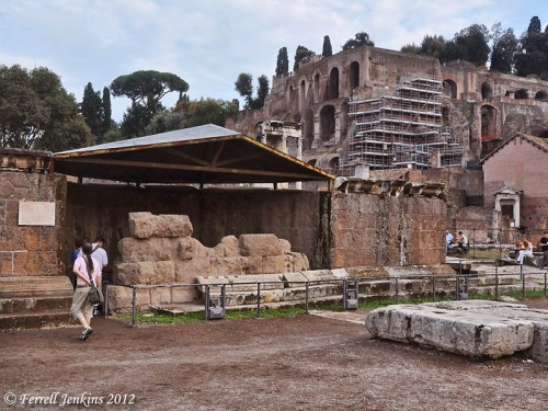 Ruins of the temple erected to Caesar in the Roman Forum. Photo by Ferrell Jenkins.