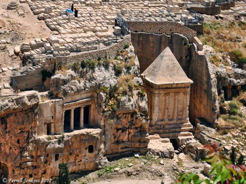 Bene Hezir (traditional James) Tomb and Tomb of Zachariah. Photo by Ferrell Jenkins.