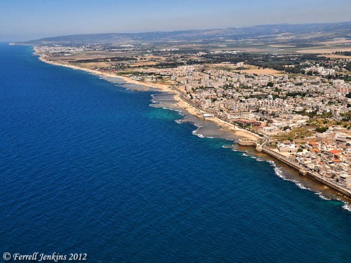 Aerial View of Plain of Acco (north): from Acco to Achziv to Rosh Hanikra. Photo by Ferrell Jenkins.