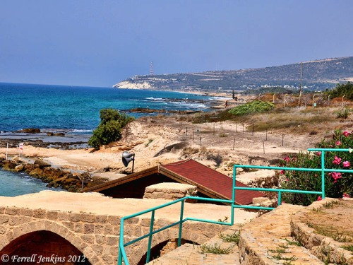 The view north from Tel Achziv to Rosh Hanikra. Photo by Ferrell Jenkins.