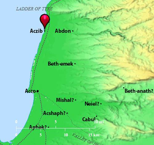 Aczib on the Mediterranean coast of Western Galilee. BibleAtlas.org.