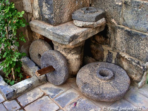 Mill stones at the Roman town of Bosra, Syria. Photo by Ferrell Jenkins.