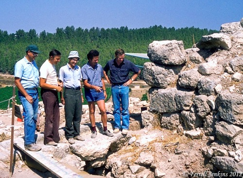Florida College professors Harold Tabor, Ferrell Jenkins, James Hodges, and Phil Roberts with Prof. David Ussishkin at the Gate of Lachish 1980.