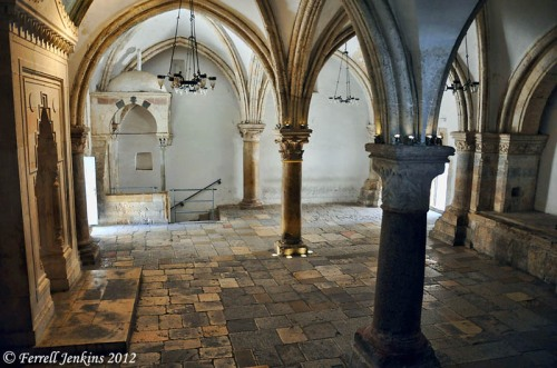 The traditional room of the Last Supper (the Cenacle) on Mount Zion, Jerusalem. Photo by Ferrell Jenkins.