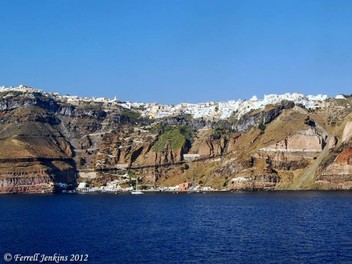 A view from inside the crater at Santorini. Photo by Ferrell Jenkins.