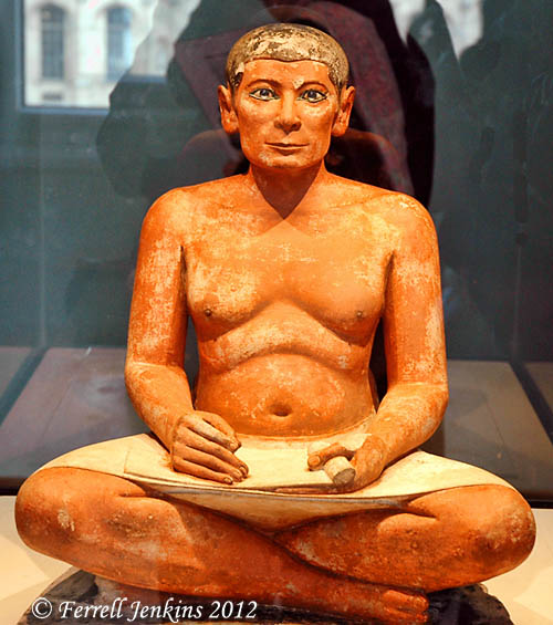 Scribe from Saqqara displayed in the Louvre. Photo by Ferrell Jenkins.