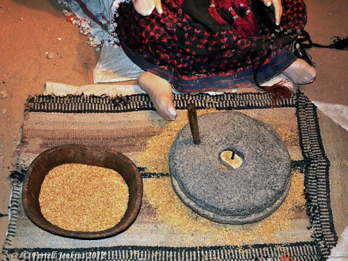 Grinding grain. Exhibit at Museum of Bedouin Culture at Kibbutz Lahav. Photo by Ferrell Jenkins.