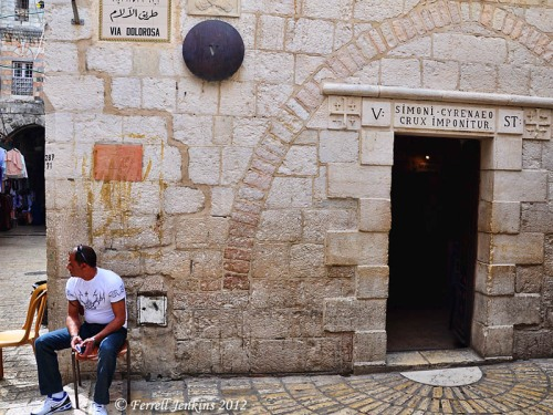 Via Dolorosa in Jerusalem. Station V. Simon of Cyrene is compelled to carry the cross of Jesus. Photo by Ferrell Jenkins.