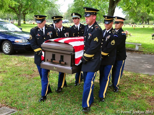 Military Honor Guard Funeral of B. R. Baker. Photo by Ferrell Jenkins.