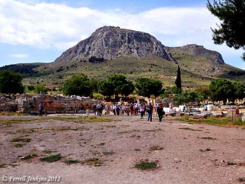 Corinth. The Bema in the Agora. Acrocorinth in distance. Photo by Ferrell Jenkins.