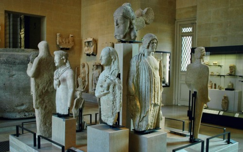 Cyprus collection from the fifth century B.C. in the Louvre. Photo by Ferrell Jenkins.
